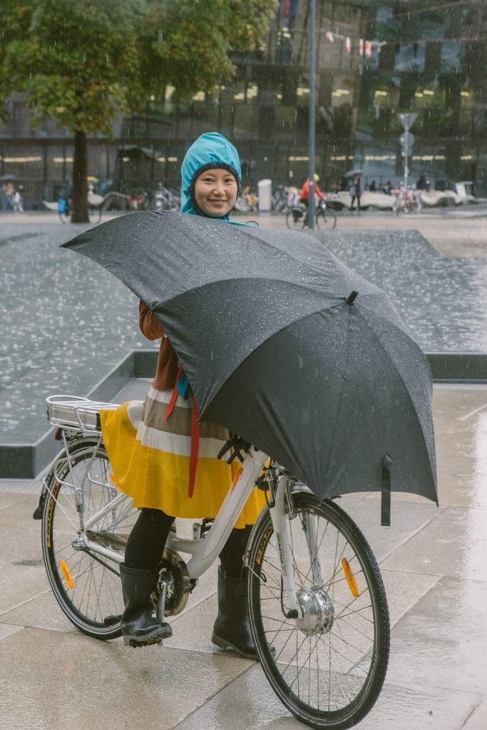 Der Fahrrad Regenschirm